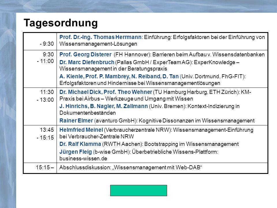 Helmfried Meinel (Verbraucherzentrale NRW): Wissensmanagement-Einführung bei Verbraucher-Zentrale NRW Dr. Ralf Klamma (RWTH Aachen): Bootstrapping im