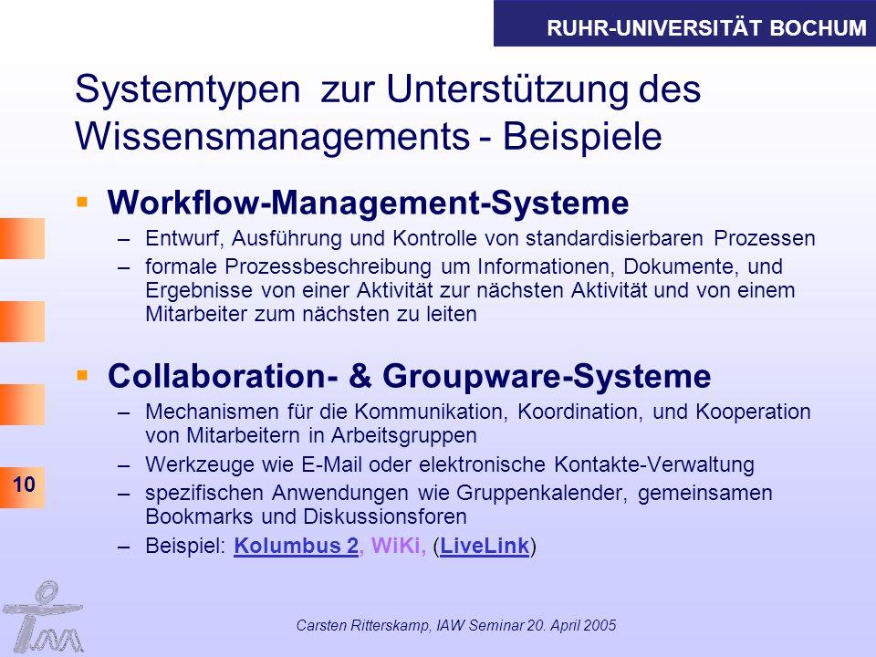 RUHR-UNIVERSITÄT BOCHUM 10 Carsten Ritterskamp, IAW Seminar 20. April 2005 Systemtypen zur Unterstützung des Wissensmanagements - Beispiele Workflow-M
