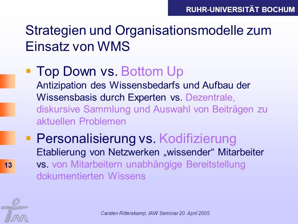 RUHR-UNIVERSITÄT BOCHUM 13 Carsten Ritterskamp, IAW Seminar 20. April 2005 Strategien und Organisationsmodelle zum Einsatz von WMS Top Down vs. Bottom