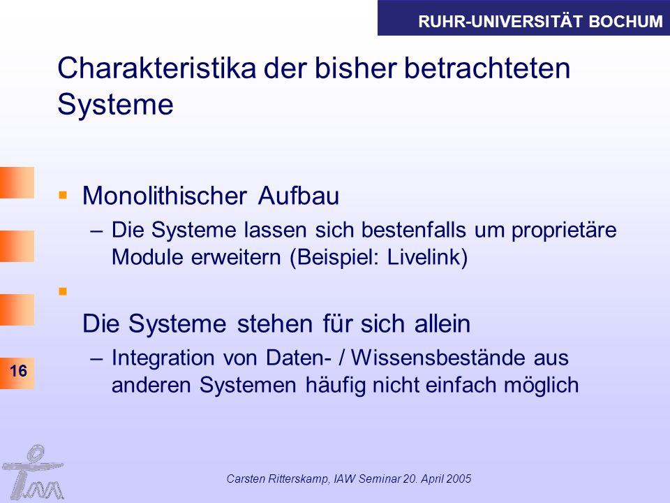 RUHR-UNIVERSITÄT BOCHUM 16 Carsten Ritterskamp, IAW Seminar 20. April 2005 Charakteristika der bisher betrachteten Systeme Monolithischer Aufbau –Die