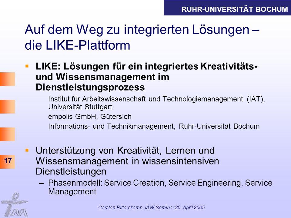 RUHR-UNIVERSITÄT BOCHUM 17 Carsten Ritterskamp, IAW Seminar 20. April 2005 Auf dem Weg zu integrierten Lösungen – die LIKE-Plattform LIKE: Lösungen fü