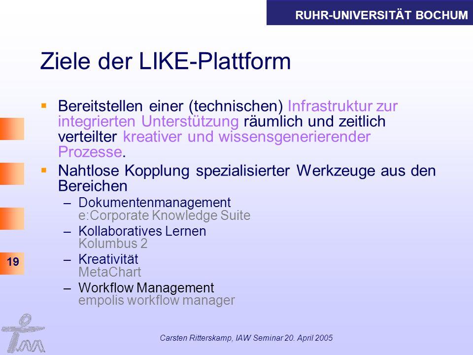 RUHR-UNIVERSITÄT BOCHUM 19 Carsten Ritterskamp, IAW Seminar 20. April 2005 Ziele der LIKE-Plattform Bereitstellen einer (technischen) Infrastruktur zu