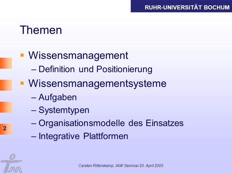 RUHR-UNIVERSITÄT BOCHUM 2 Carsten Ritterskamp, IAW Seminar 20. April 2005 Themen Wissensmanagement –Definition und Positionierung Wissensmanagementsys