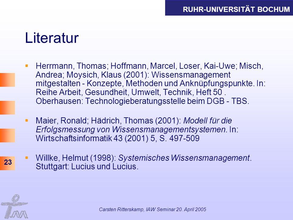 RUHR-UNIVERSITÄT BOCHUM 23 Carsten Ritterskamp, IAW Seminar 20. April 2005 Literatur Herrmann, Thomas; Hoffmann, Marcel, Loser, Kai-Uwe; Misch, Andrea