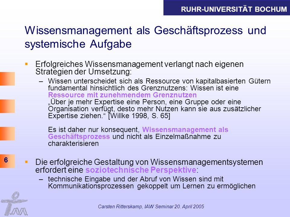 RUHR-UNIVERSITÄT BOCHUM 6 Carsten Ritterskamp, IAW Seminar 20. April 2005 Wissensmanagement als Geschäftsprozess und systemische Aufgabe Erfolgreiches