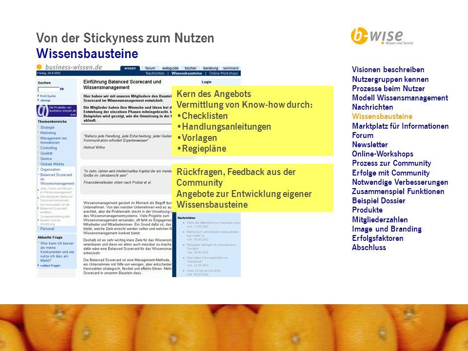 Von der Stickyness zum Nutzen Marktplatz für Informationen Ergänzung durch spezifische Serviceangebote: Bücher Zeitschriften Experten Seminare Webguide...