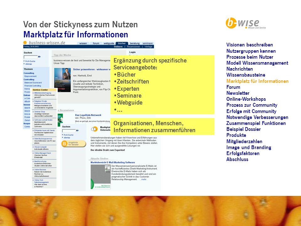 Von der Stickyness zum Nutzen Forum Fragen und Antworten - Erfahrungsaustausch: Recherchen konkretes Problem Werbung für sich machen...