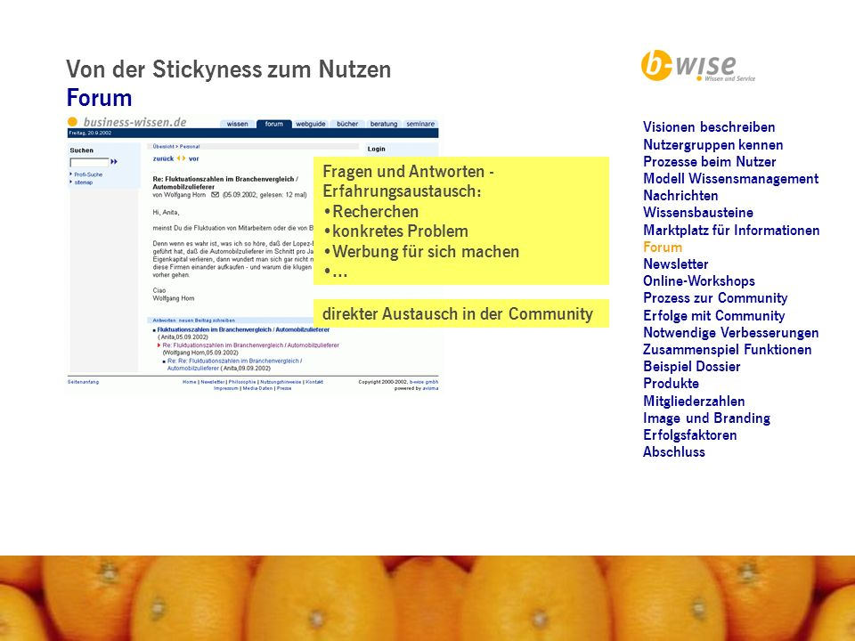 Von der Stickyness zum Nutzen Newsletter Push-Faktor: Persönliches Hintergründiges Wissen Werbung...