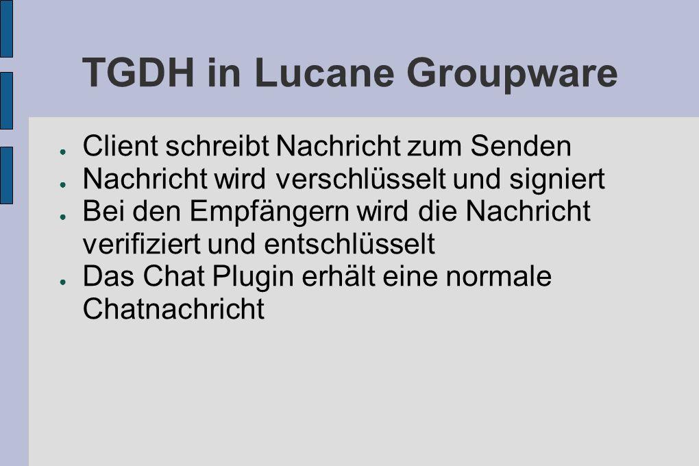 TGDH in Lucane Groupware Client schreibt Nachricht zum Senden Nachricht wird verschlüsselt und signiert Bei den Empfängern wird die Nachricht verifiziert und entschlüsselt Das Chat Plugin erhält eine normale Chatnachricht