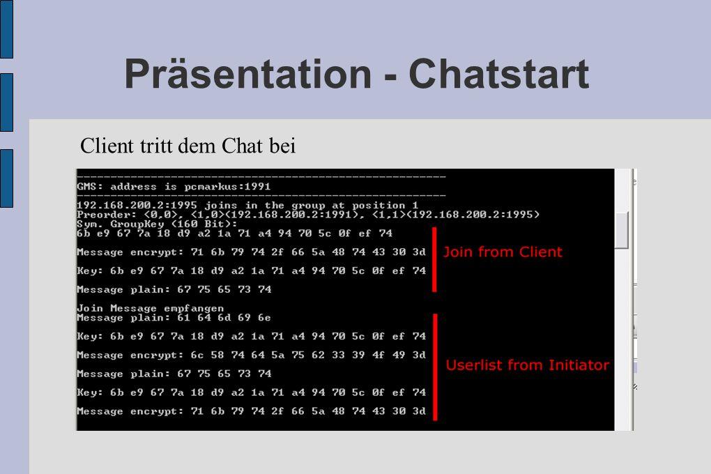 Präsentation - Chatstart Client tritt dem Chat bei
