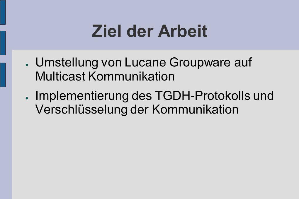 Ziel der Arbeit Umstellung von Lucane Groupware auf Multicast Kommunikation Implementierung des TGDH-Protokolls und Verschlüsselung der Kommunikation