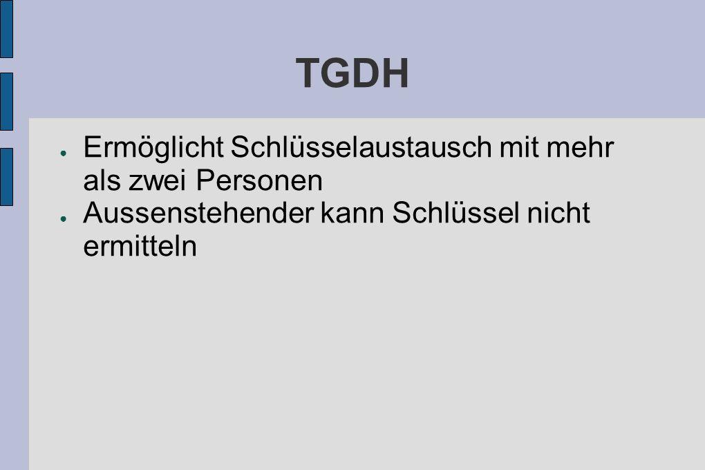 TGDH Ermöglicht Schlüsselaustausch mit mehr als zwei Personen Aussenstehender kann Schlüssel nicht ermitteln