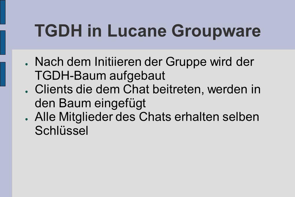 TGDH in Lucane Groupware Nach dem Initiieren der Gruppe wird der TGDH-Baum aufgebaut Clients die dem Chat beitreten, werden in den Baum eingefügt Alle Mitglieder des Chats erhalten selben Schlüssel