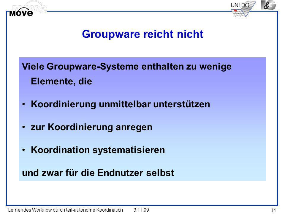 Lernendes Workflow durch teil-autonome Koordination3.11.99 11 Groupware reicht nicht Viele Groupware-Systeme enthalten zu wenige Elemente, die Koordin