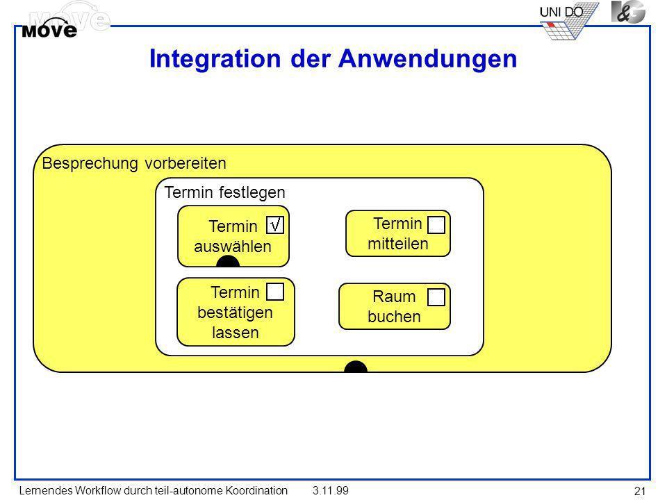 Lernendes Workflow durch teil-autonome Koordination3.11.99 21 Besprechung vorbereiten Termin festlegen Termin auswählen Termin bestätigen lassen Termi
