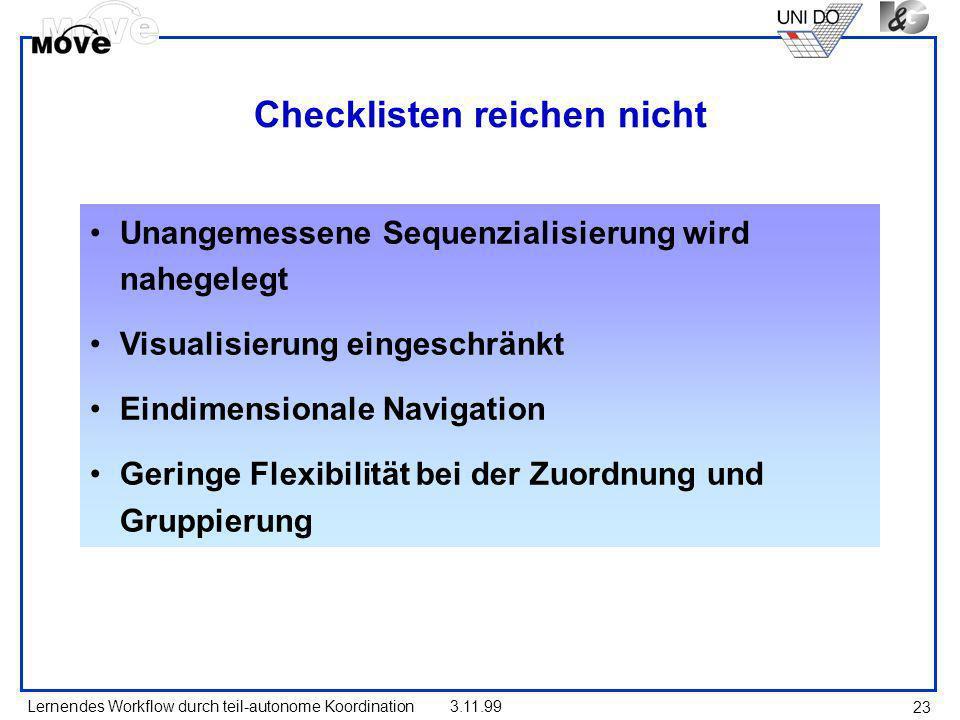 Lernendes Workflow durch teil-autonome Koordination3.11.99 23 Checklisten reichen nicht Unangemessene Sequenzialisierung wird nahegelegt Visualisierun