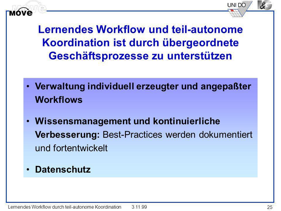 Lernendes Workflow durch teil-autonome Koordination3.11.99 25 Lernendes Workflow und teil-autonome Koordination ist durch übergeordnete Geschäftsproze