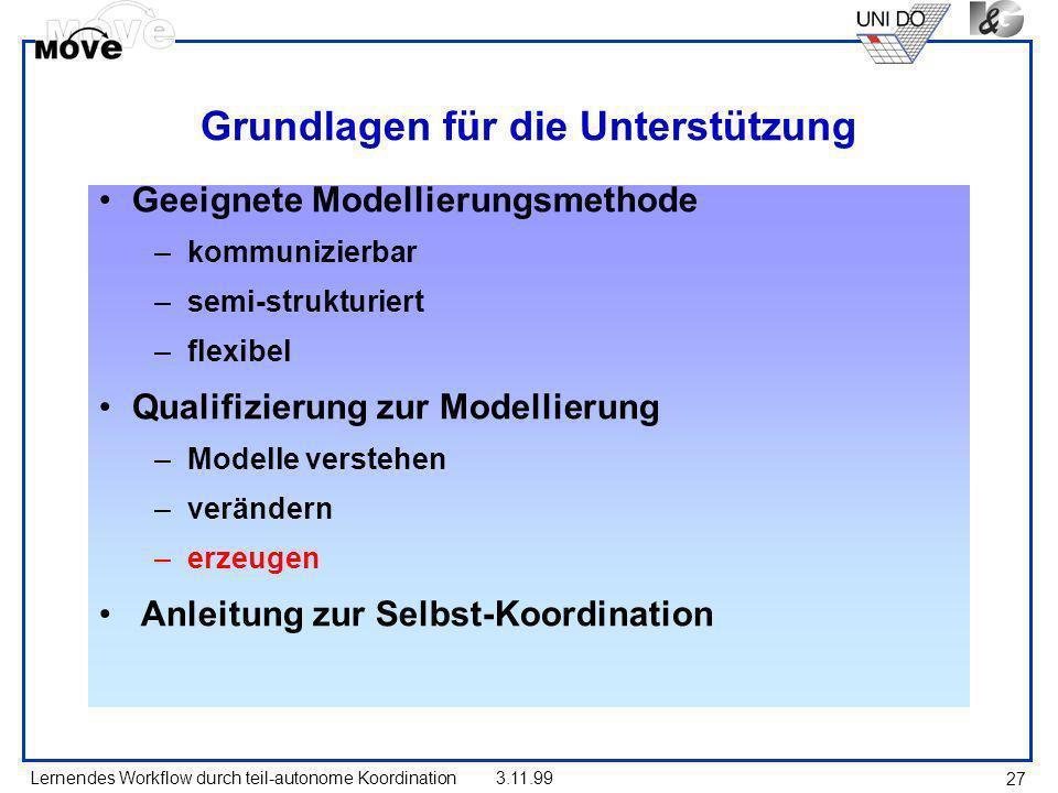 Lernendes Workflow durch teil-autonome Koordination3.11.99 27 Grundlagen für die Unterstützung Geeignete Modellierungsmethode –kommunizierbar –semi-st