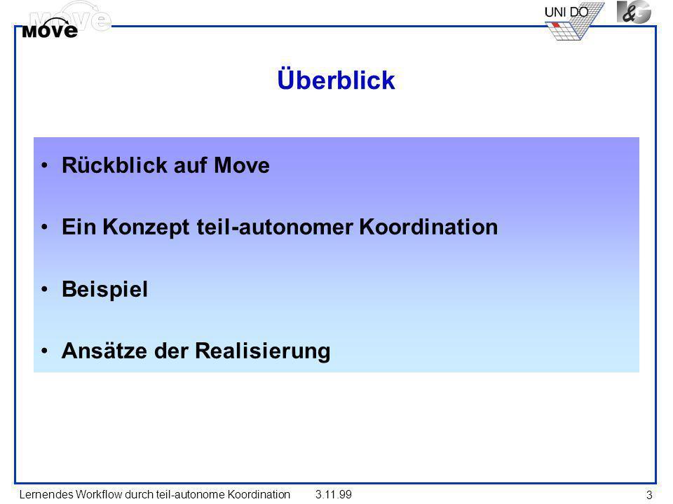 Lernendes Workflow durch teil-autonome Koordination3.11.99 3 Überblick Rückblick auf Move Ein Konzept teil-autonomer Koordination Beispiel Ansätze der
