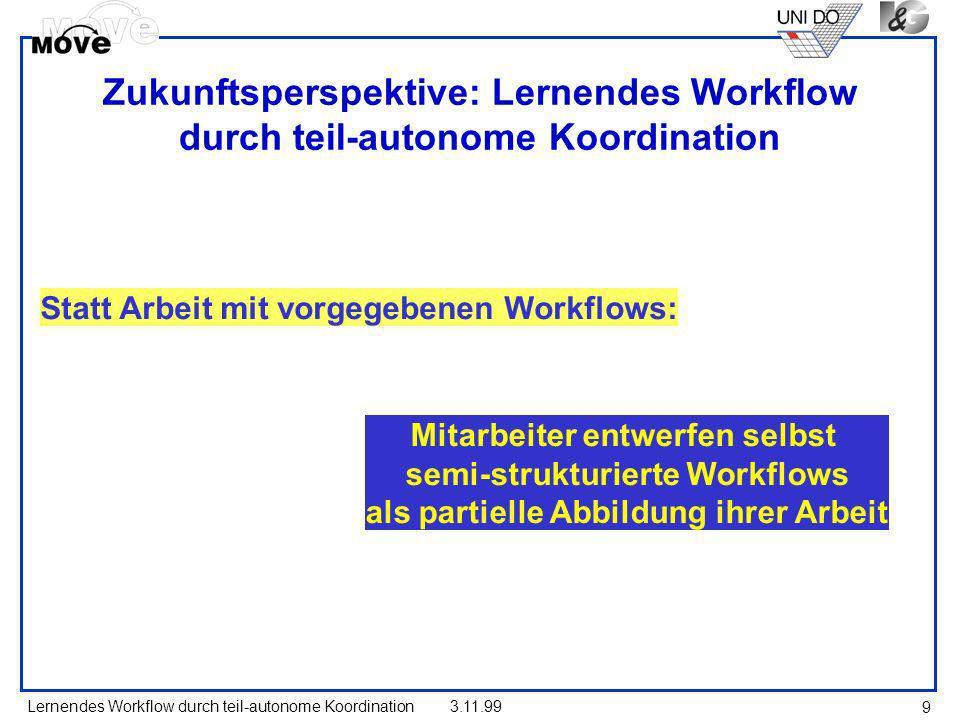Lernendes Workflow durch teil-autonome Koordination3.11.99 9 Zukunftsperspektive: Lernendes Workflow durch teil-autonome Koordination Statt Arbeit mit