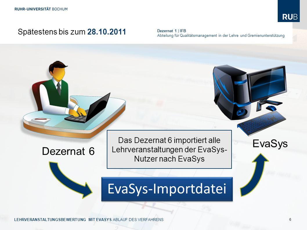 6 LEHRVERANSTALTUNGSBEWERTUNG MIT EVASYS ABLAUF DES VERFAHRENS Dezernat 1 | IFB Abteilung für Qualitätsmanagement in der Lehre und Gremienunterstützung Dezernat 6 EvaSys-Importdatei EvaSys Das Dezernat 6 importiert alle Lehrveranstaltungen der EvaSys- Nutzer nach EvaSys Spätestens bis zum 28.10.2011