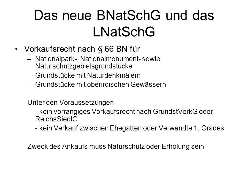 Das neue BNatSchG und das LNatSchG Vorkaufsrecht nach § 66 BN für –Nationalpark-, Nationalmonument- sowie Naturschutzgebietsgrundstücke –Grundstücke m