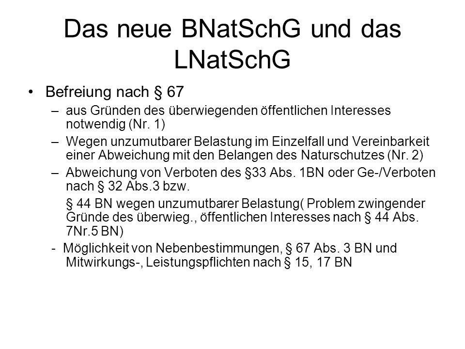 Das neue BNatSchG und das LNatSchG Befreiung nach § 67 –aus Gründen des überwiegenden öffentlichen Interesses notwendig (Nr. 1) –Wegen unzumutbarer Be