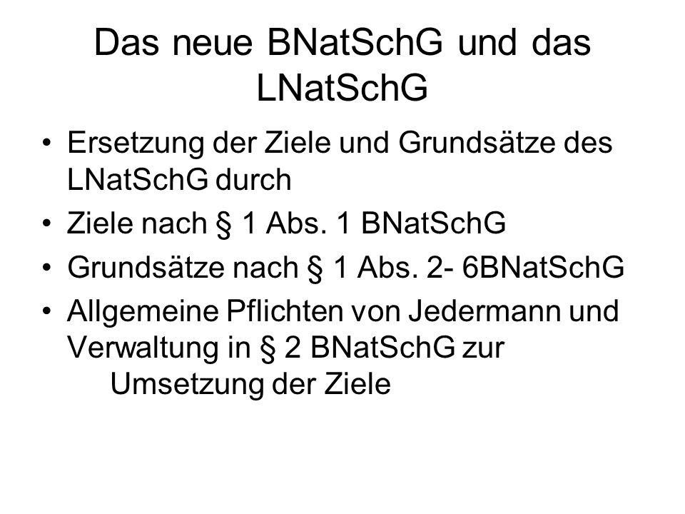 Das neue BNatSchG und das LNatSchG Ersetzung der Ziele und Grundsätze des LNatSchG durch Ziele nach § 1 Abs.