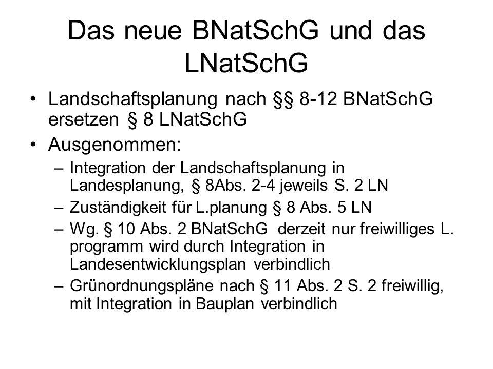 Das neue BNatSchG und das LNatSchG Landschaftsplanung nach §§ 8-12 BNatSchG ersetzen § 8 LNatSchG Ausgenommen: –Integration der Landschaftsplanung in