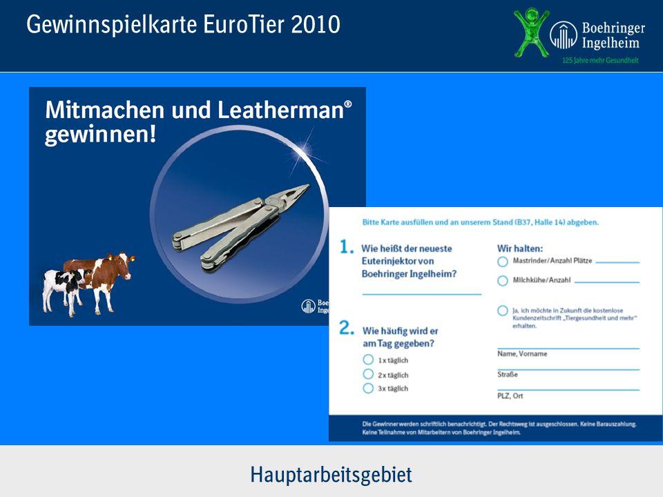 Gewinnspielkarte EuroTier 2010 Hauptarbeitsgebiet