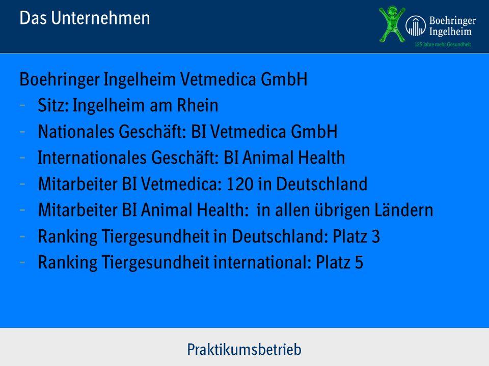 Das Unternehmen Boehringer Ingelheim Vetmedica GmbH - Sitz: Ingelheim am Rhein - Nationales Geschäft: BI Vetmedica GmbH - Internationales Geschäft: BI