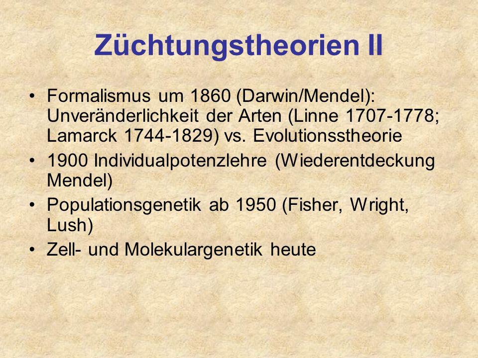 Züchtungstheorien Vor 1700 bis heute: Aberglaube, Vererbung erworbener Eigenschaften Bildung der Kulturrassen ab 18. Jh., hauptsächlich in England: Re