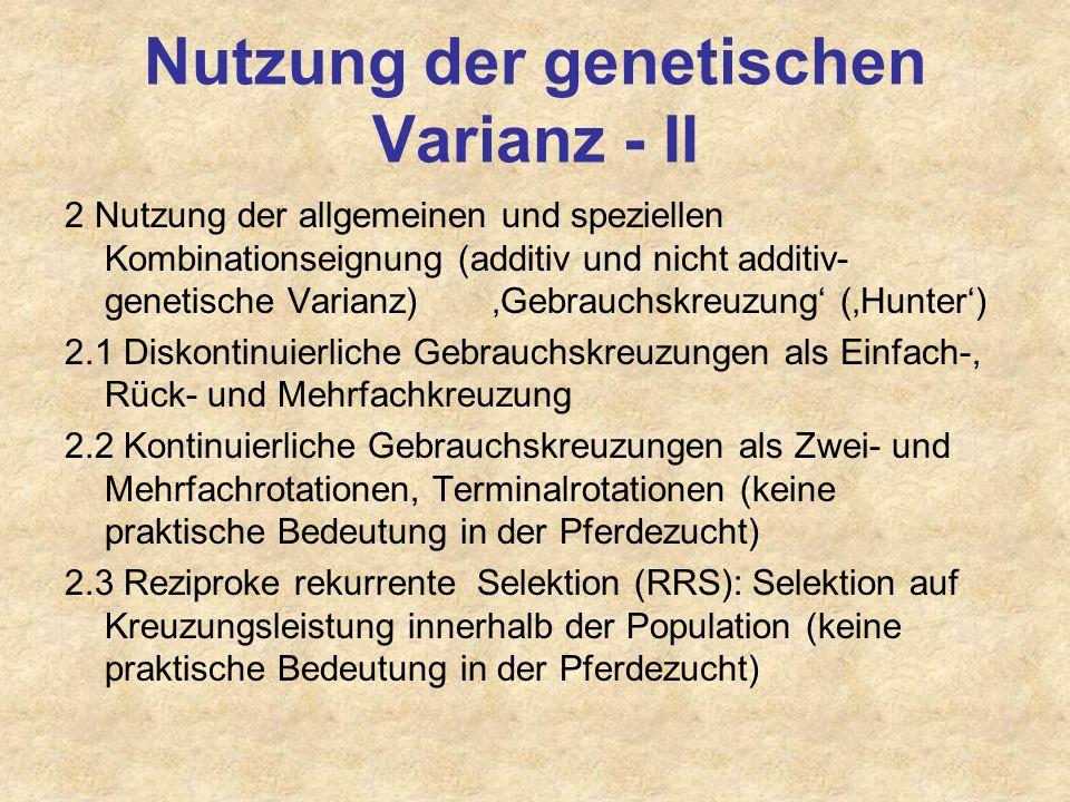 Nutzung der genetischen Varianz 1 Ausschliessliche Nutzung der additiv - genetischen Varianz (nicht Heterosiseffekte etc.) 1.1 Selektion in geschlosse