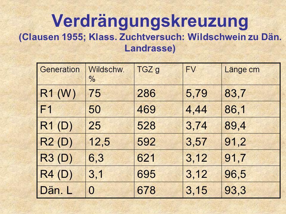 Verdrängungskreuzung: Veränderung des Genanteil innerhalb weniger Generationen (>>Typänderung!) GenerationRasse A (%) Rasse B (%) Verhältnis 01000 150