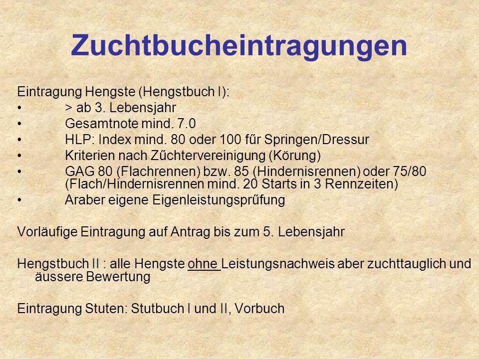 Zuchtbucheintragungen Eintragung Hengste (Hengstbuch I): > ab 3. Lebensjahr Gesamtnote mind. 7.0 HLP: Index mind. 80 oder 100 fűr Springen/Dressur Kri