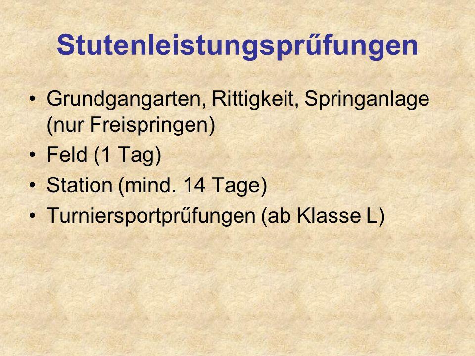 Stutenleistungsprűfungen Grundgangarten, Rittigkeit, Springanlage (nur Freispringen) Feld (1 Tag) Station (mind. 14 Tage) Turniersportprűfungen (ab Kl