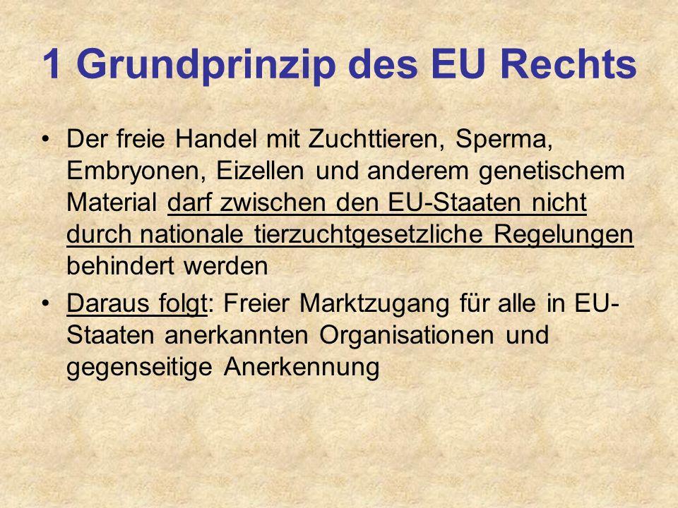 1 Grundprinzip des EU Rechts Der freie Handel mit Zuchttieren, Sperma, Embryonen, Eizellen und anderem genetischem Material darf zwischen den EU-Staat