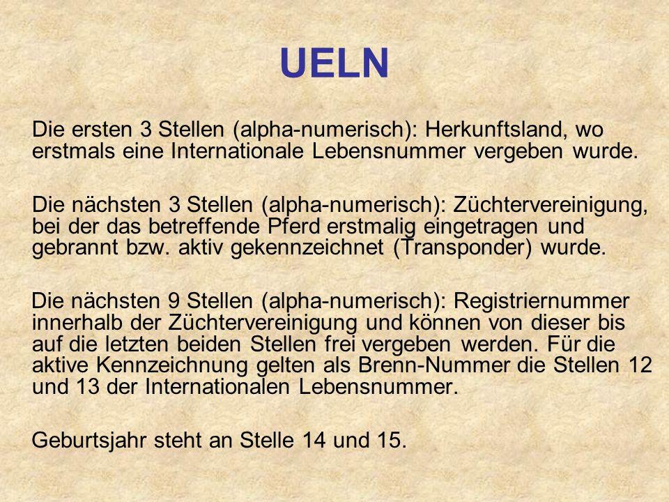 UELN Die ersten 3 Stellen (alpha-numerisch): Herkunftsland, wo erstmals eine Internationale Lebensnummer vergeben wurde. Die nächsten 3 Stellen (alpha