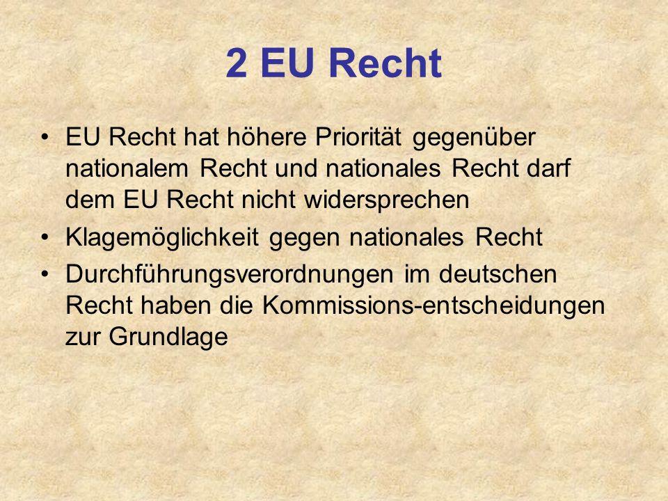 2 EU Recht EU Recht hat höhere Priorität gegenüber nationalem Recht und nationales Recht darf dem EU Recht nicht widersprechen Klagemöglichkeit gegen