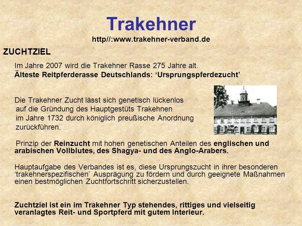 Trakehner http//:www.trakehner-verband.de ZUCHTZIEL Im Jahre 2007 wird die Trakehner Rasse 275 Jahre alt. Älteste Reitpferderasse Deutschlands: Urspru