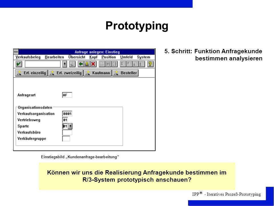 IPP - Iteratives Prozeß-Prototyping Prototyping Können wir uns die Realisierung Anfragekunde bestimmen im R/3-System prototypisch anschauen.