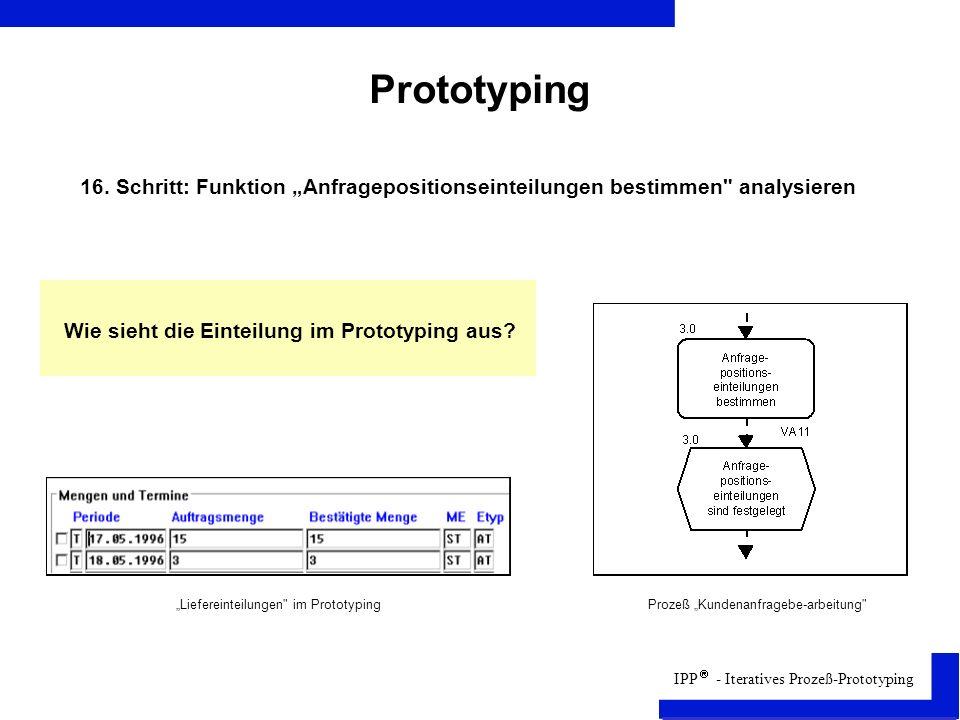 IPP - Iteratives Prozeß-Prototyping Prototyping Liefereinteilungen im PrototypingProzeß Kundenanfragebe-arbeitung 16.