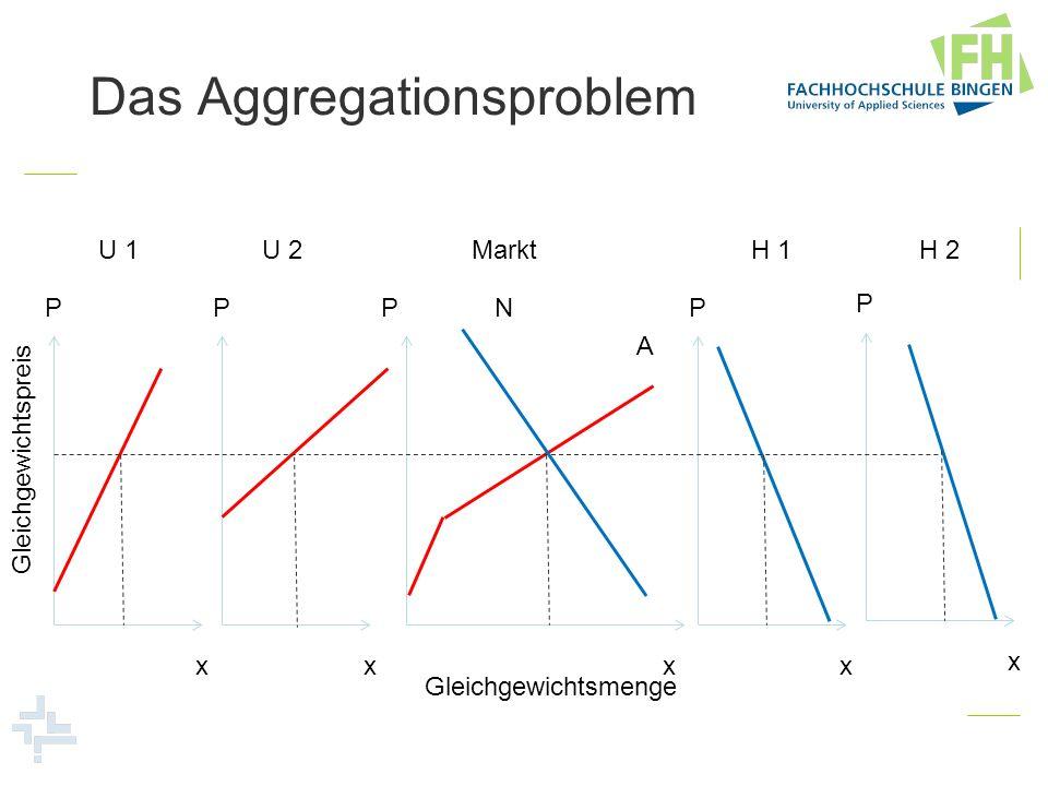 P x P x P x P x P x U 1U 2H 1H 2 A N Markt Gleichgewichtsmenge Gleichgewichtspreis Das Aggregationsproblem