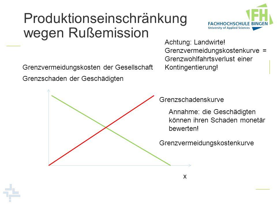Produktionseinschränkung wegen Rußemission Grenzvermeidungskosten der Gesellschaft x Grenzvermeidungskostenkurve Grenzschadenskurve Grenzschaden der G