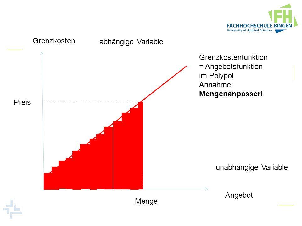 Grenzkosten Angebot abhängige Variable unabhängige Variable Preis Menge Grenzkostenfunktion = Angebotsfunktion im Polypol Annahme: Mengenanpasser!