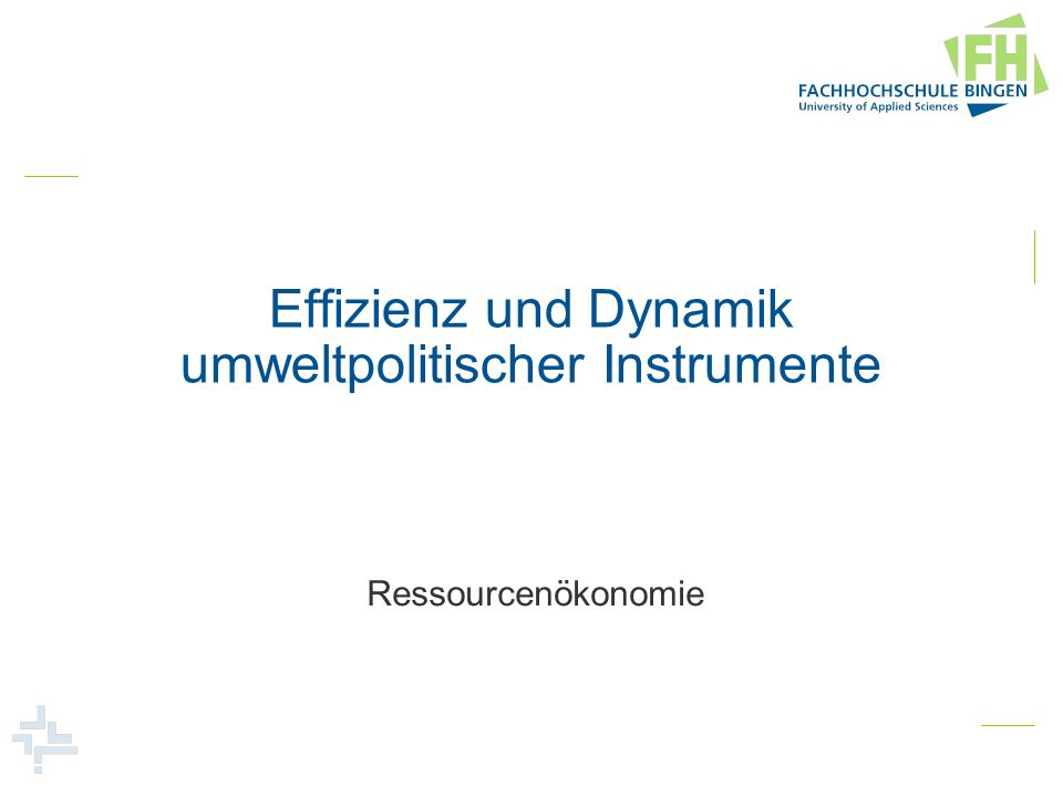 Effizienz und Dynamik umweltpolitischer Instrumente Ressourcenökonomie