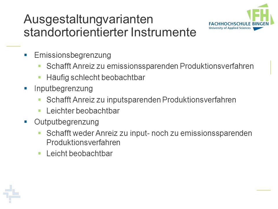 Organisationsformen AuflageAbgabeZertifikat mit Versteigerung Zertifikat mit freier Vergabe Emissions- begrenzung ++ Inputbegrenzung++ Outputbegrenzung+- Wirkung auf emissionssparenden technischen Fortschritt Emissions- begrenzung Positiv InputbegrenzungWeniger positiv OutputbegrenzungKeine