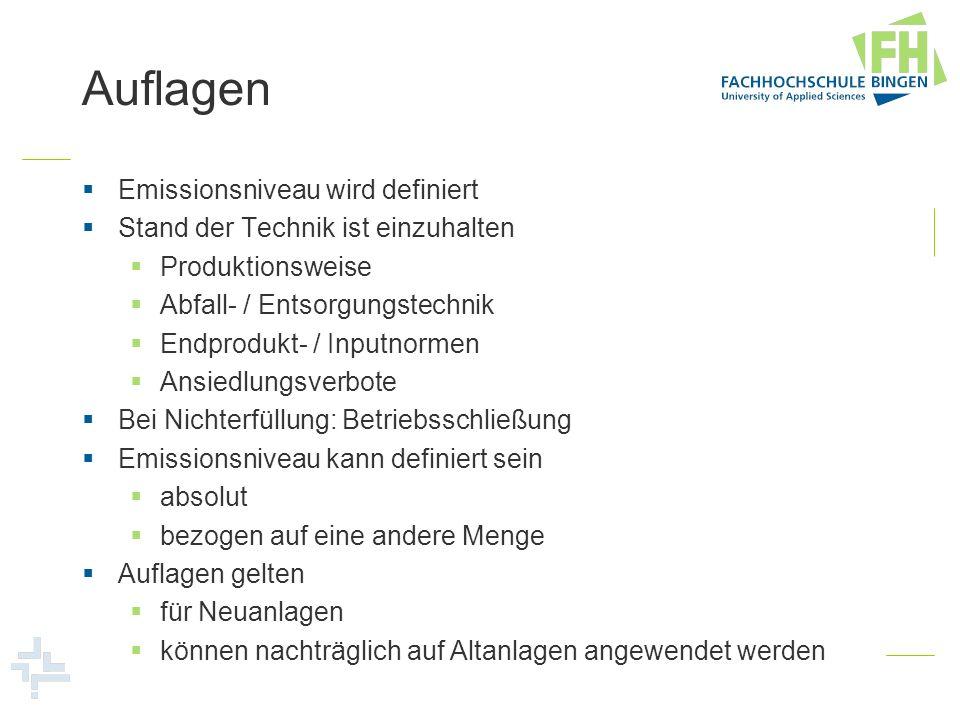 Auflagen Emissionsniveau wird definiert Stand der Technik ist einzuhalten Produktionsweise Abfall- / Entsorgungstechnik Endprodukt- / Inputnormen Ansi
