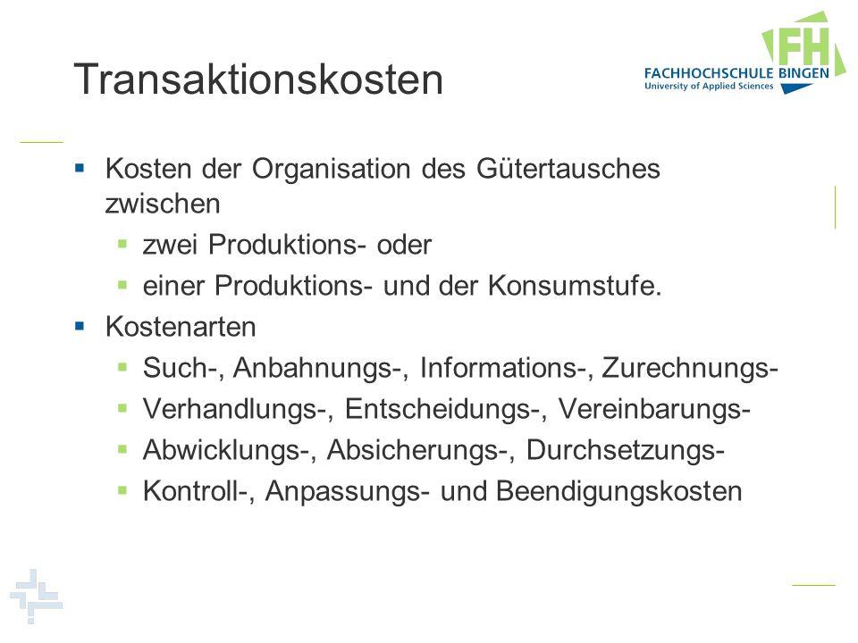 Transaktionskosten Kosten der Organisation des Gütertausches zwischen zwei Produktions- oder einer Produktions- und der Konsumstufe. Kostenarten Such-