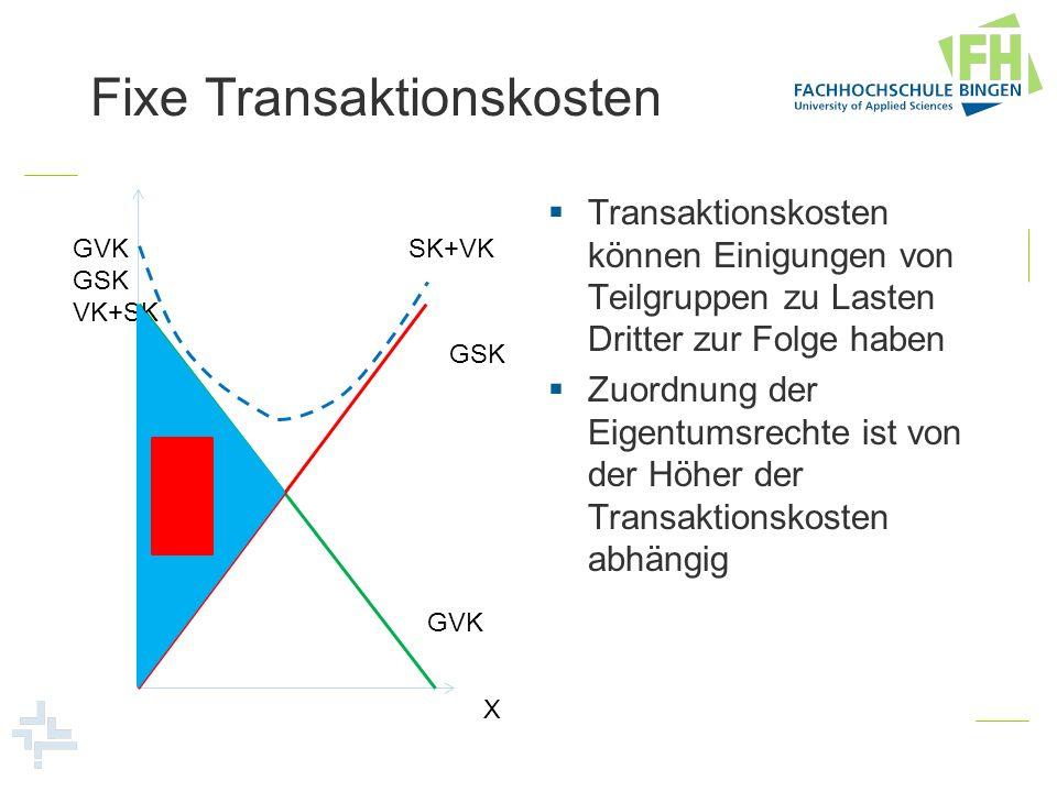 Fixe Transaktionskosten Transaktionskosten können Einigungen von Teilgruppen zu Lasten Dritter zur Folge haben Zuordnung der Eigentumsrechte ist von d
